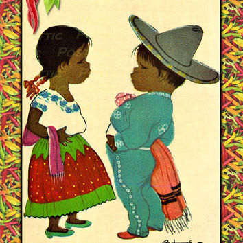 Mexican Kids Spanish Children Girl & Boy Chili Peppers Mexico Vintage look Postcard Stationary Standard Size Set of 12 Cards