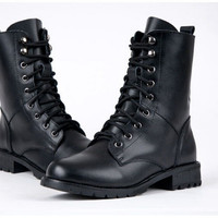 Round Toe Leather Army Boot's