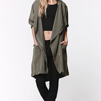 LA Hearts Longline Anorak Jacket - Womens Jacket - Green - One