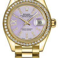 Women's Rolex Lady-Datejust 28 Solid 18K Gold Luxury Watch (Ref. 279138RBR)