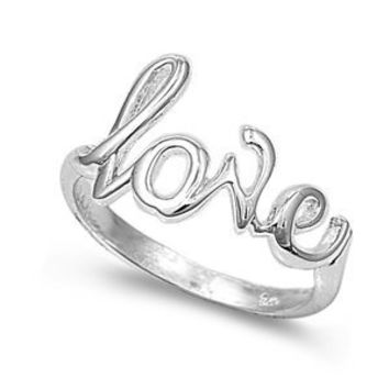 Sterling Silver 7mm Love Ring (Size 4 - 10): Jewelry: Amazon.com