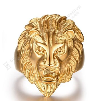 Men Jewelry Big Size Gold Color Lion Ring with Micro Paved 2017 New Men Ring 316L Stainless Steel Punk Men Rings Jewelry