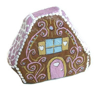Gingerbread House Painted Rock - FREE USA Shipping