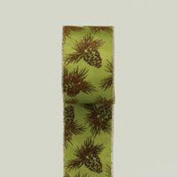 Wired Ribbon - Pine Cone Pattern