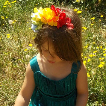 Rainbow Garland Fairy Flower Headband with Hydrangea and Tiger Lily Blossoms