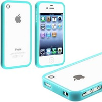 myLife Sky Blue Slim Bumper (Metal Buttons - 360 Degree Side Protector) Gel Flex Case for the iPhone 4/4S (4G) 4th Generation Touch Phone (Soft Silicone Bumper Frame + Rubberized All Around Shock Absorbing Armor Skin)