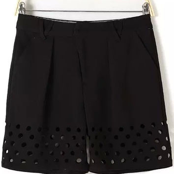 Black Cut-Out Hem Straight Shorts