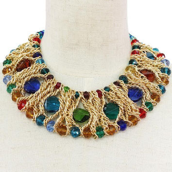 Gold Tone Mesh Chain Link  Bead Necklace and Earring Set