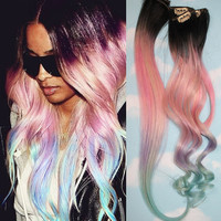 Light Pastel Dip Dyed Hair, Clip In Hair Extensions, Tie Dye Tips, Black Hair, Hair Wefts, Human Hair Extensions, Hippie hair, Pink Hair