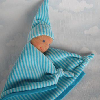Baby boy lovey in Waldorf style, Security blanket in blue, Handmade baby shower gift, Newborn cuddle doll, New mom gift, Baby teething toy