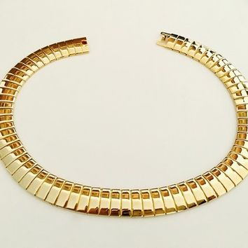 Vintage Gold Tone Articulated Omega Chain Necklace, Wide Polished Gold Tone Choker Necklace, Modernist Choker, Egyptian Style Choker