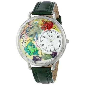 SheilaShrubs.com: Unisex Frogs Hunter Green Leather Watch U-0140001 by Whimsical Watches: Watches