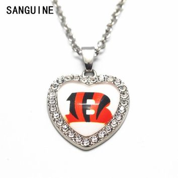 1pcs Cincinnati Bengals 20 Inchs Chains Necklace Football Glass Heart Crystal Pendant Necklace For Women Necklace DIY Jewelry