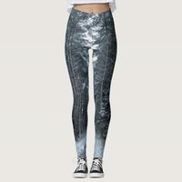 Blue and gray winter forest scene leggings