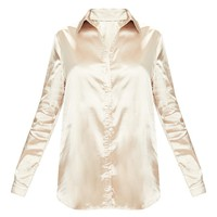 Champagne Satin Button Front Shirt