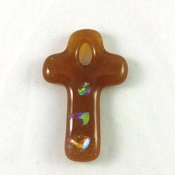 Handmade Art Glass Christian Cross, Amber and Rainbow Dichroic, Jewelry Pendant, Donation Piece, Christmas Gift