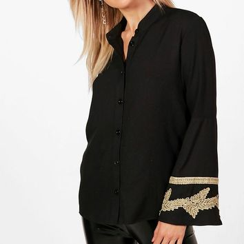 Martha Applique Trim Wide Sleeve Folk Shirt | Boohoo