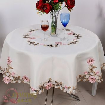 8 Sizes European Garden Embroidered Tablecloth Fabric Coverings Table Runner Red Floral Cutwork Home Decor Home Kitchen Dining D