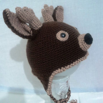 Photo Prop Deer hat, Elk hat , Reindeer crochet hats, Antlers Photo Prop, Winter crochet hat, gift for kids, boys animal cosplay, Deerhat504