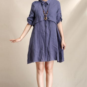 Dark blue elegant short linen shirt dress (ESR127)