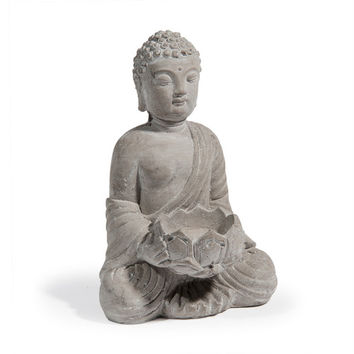 SERENITE cement Buddha candle holder in grey H 19cm | Maisons du Monde