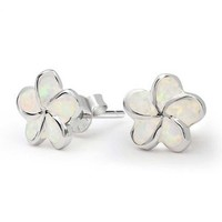 Mothers Day Gifts Flower Synthetic Opal October Birthstone Stud Earrings 925 Silver
