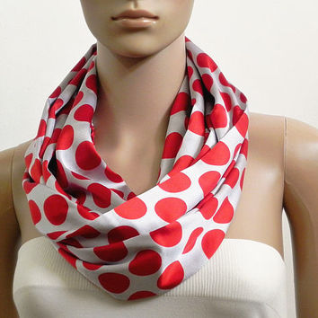 Polka Dot Infinity Scarf Shawl Red Gray Satin Fashion Scarves for Women Circle Cowl Scarf Tube Scarf Soft Summer Scarf Gift for her Handmade