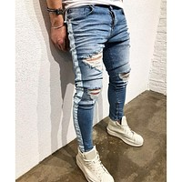 Distressed ripped holes Side striped Zipper hip hop jeans