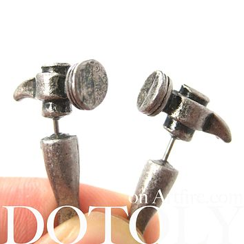 Fake Gauge Earrings: Realistic Hammer Shaped Faux Plug Stud Earrings in Silver