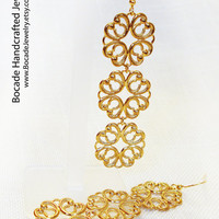 Old World Golden Lace Earrings 3in Long, gold lace, womens earrings, dangle earrings, gold dangle, boho earrings,