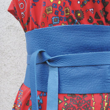 Electric Blue Leather Obi Belt by TheButterfliesShop on Etsy