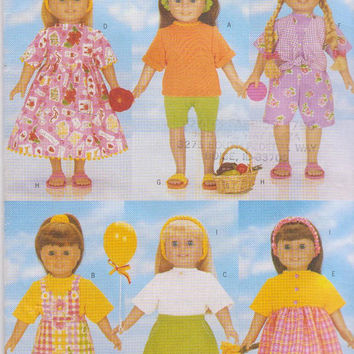 """Pattern for 6 complete summer outfits for American Girl/other 18"""" dolls includes visor, sandals, jumper Butterick 5452 CUT and COMPLETE"""