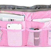 ONETOW Liroyal Pink Handbag Pouch Bag in Bag Organiser Insert Organizer Tidy Travel Cosmetic Pocket Makeup Bag