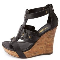 Studded Platform Gladiator Wedges by Charlotte Russe - Black