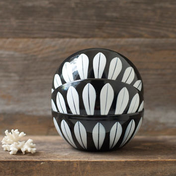 "Rare Cathrineholm 4"" White Lotus on Black Bowls"
