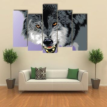 Wolf With Fangs On The Gray Background Canvas
