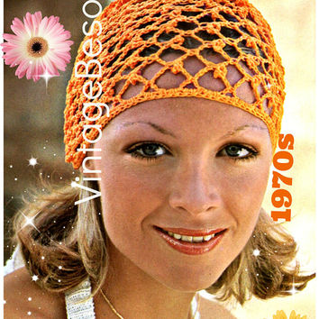 Vintage 1970s Hat Crochet Pattern • PdF Pattern • Cap Coronet Headdress • Digital Pattern