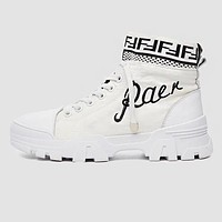 FENDI Fashion Women Boots Shoes High Help Breathable Martin Boots Shoes White