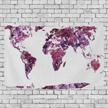 Shop world map tapestry on wanelo watercolor world map purple tapestry wall hanging red global map wall decor art for living room gumiabroncs Image collections