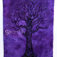 Tree of Life Tapestry, Tree of Life Hippie Tapestries Wall Hanging, Cotton Bedspread Bed Sheet Cover, Bohemian Boho Coverlet, Twin Bedding