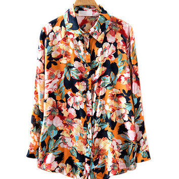 Floral Print Long Sleeve Collared Shirt