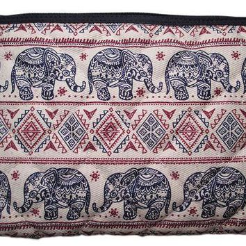 DCCKV2S Makeup Cosmetic Bag Travel Pencil Pen Case Purse Pouch Elephant Canvas Unique Handmade (Blue & Red)