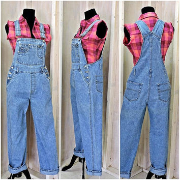 90s womens bib Overalls / denim / faded / grunge / size M / 7 / 9 / No Boundaries