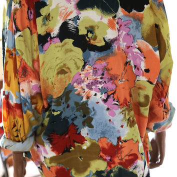 ABSTRACT COLORFUL Beaded Vintage Boho Funky 1980s Large Blouse Top Dress