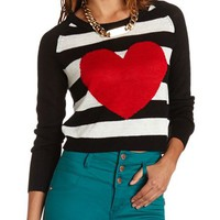 Striped Heart Crop Sweater: Charlotte Russe