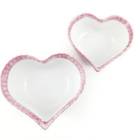 Pink Heart Bowls / Heart Shaped Modern Serving Dishes / Home Accent / Eclectic Vintage Pop Art / Spongeware / Set of 2 / Instant Collection