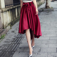 2015 Elegant Long Skirt Irregular Slim High Waist Vintage Women Skirts Pleated Formal Skirts Saias = 1946453764