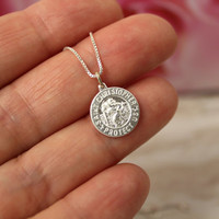 Safe travels gift for traveler St Christopher charm sterling silver necklace Good bye Gift Enjoy the trip travelers patron saint