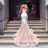 Charming Strapless Lace Patchwork Mermaid Long Party Dress