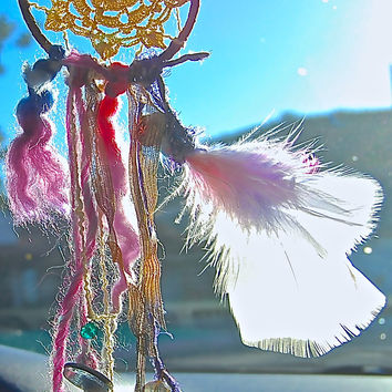 Car dreamcatcher with feathers beads wool by TheLittleBigShop